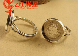 Wholesale 14mm Round Ring Setting - A3676 Fit 14MM Antique Silver tone Copper material round ring blanks, metal adjustable ring base, zinc alloy bezel ring setting trays