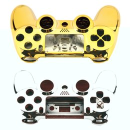 Wholesale Playstation Replacement - Full Housing Shell Case Skin Cover Button Set with Full Buttons Mod Kit Replacement For Playstation 4 PS4 Controller Gold Sliver