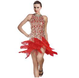 Wholesale Latin Dress Fringe Black - Wholesale-Women Latin Dance Dress Women Ballroom Dancing Dresses Latin Dance Costume Dance Latin Dresses Tango Dress Samba Skirts Fringe 2