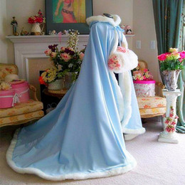 Wholesale Long Fur Trimmed Wedding Cape - 2017 NEW Warm Bridal Cape Wraps Custom Made Winter Wedding Cloak Cape Hooded with Fur Trim Long Bridal Wraps Winter Jacket Coat for Bride