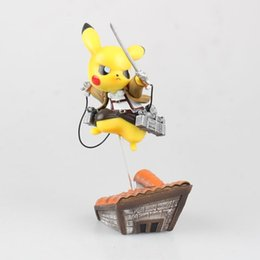 Wholesale Attack Titan Eren Cosplay - Pikachu cosplay Attack on Titan Eren doll PVC 15cm box-packed japanese figurine Action figure for Kid Anime Collection 170532