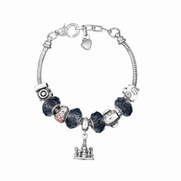 Wholesale Grey Faceted - European Pandora Style Charm Bracelets with Grey Faceted Murano Glass Beads & Castle Dangles DIY Beaded Bangle Bracelets Adjustable BL181