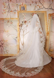 Wholesale 1t Lace Wedding Cathedral Veil - Soft Tulle 1T Lace Applique Edge With Comb Appliques Lvory White ivory Wedding Veil Cathedral Bridal Veils 3M Length