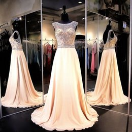 Wholesale Wholesales Prom Dresses - Champagne Sexy Prom Dresses for Women Special Occasion Chiffon Boat Neck Backless Sparkling Beading Formal Pageant Gowns
