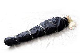 Wholesale Women Costumes Sex Toys - Fetish nylon SM Bondage black Leather strap Restraint Costume Adjustable SM SEX sleeping bag Bondage TOYS for women 302405173