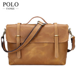 8a34a3c04710 Wholesale- NEW Arrival Casual Men s Bag Genuine Leather Men Laptop Case Cow  Skin Crazy Horse Briefcase Male Business Portfolio CH069