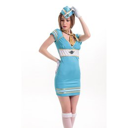 Wholesale Navy Sailor Outfits - 2016 New Adult Womens Sexy Halloween Party Navy Sailor Suit Costumes Outfit Fancy Cosplay Dresses Size M L With Hat