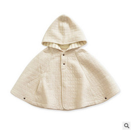 Wholesale Wholesale Wool Jackets - Baby poncho shawl girls plaid hooded outdoor cloaks outwear jacket autumn winter children warm capes coat kids cotton clothing R0040