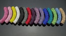 Wholesale Tube Bending Beads - 20 pcs lot 45cm hot mixed multicolor best hot Micro Pave CZ Crystal shamballa tube Long tubes bending beads Bracelets DIY Findings.