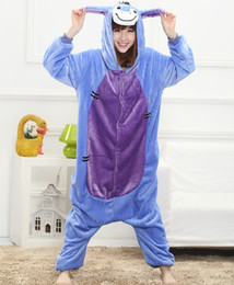 Wholesale Animal Costume Pajamas For Adults - 2017 Fashion Autumn and winter Cartoon animals Cute Donkey Pajamas for men and women adult Long sleeve Cosplay Costume Pajama sets