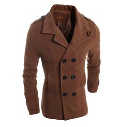 Wholesale European Clothing Men Jacket - Fall-2016 European And American Mens Wool Coat Jacket Winter Plus Long Mens Windbreaker Jacket Coats Wholesale Brand Clothing S1492