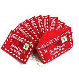 Expédition rapide des cadeaux de noël en Ligne-12 * 8 cm Christams cadeau enveloppe non-tissé arbre de Noël décorations Santa Claus Candy sac rouge couleur Drop Shipping livraison rapide 300 pcs / lot