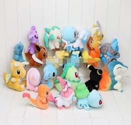 Wholesale free character games - 20pcs set Anime Pikachu 20 Different style pocket Plush Character Soft Toy Stuffed Animal Collectible Doll Free Shipping