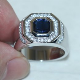 Wholesale Diamond Sapphire Sterling Silver Ring - Men's 925 Silver Square Blue Sapphire Simulated Diamond Zircon Gem Stone Rings Fashion Engagement Wedding Bands Jewelry boys