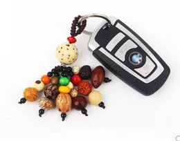 Wholesale Car Safety Bag - Natural Bodhi Keychain Quality PuTizi Peace Safety Lover Couples Gifts Car Bag Pendants Keychains Fashion Accessories