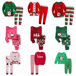 Wholesale Girl Santa Suit - fall 2017 christmas pajamas for kids pijama sets boys pajamas girls pjs sleepwear baby pyjamas santa nightgown stripes pijama suit wholesale