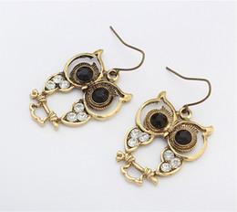 Wholesale Old Fashioned Earrings - DHL free shipping New Fashion Retro Style dangle & chandelier earrings old golden owl alloy earrings Long Dangle Earrings For Women Jewelry