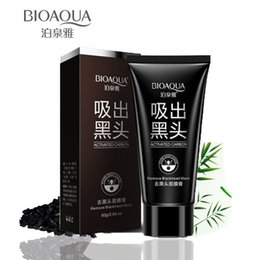 Wholesale Oil Face Cleansing - BIOAQUA Deep Cleansing Black mud face mask Remove blackhead facial mask strawberry nose Acne remover Face care