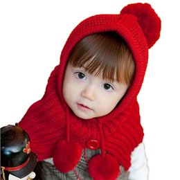 Wholesale Crocheted Baby Shawls - Unisex Baby Toddler Knitted Scarf Hat Winter warm Hooded Shawl Solid Children Kids Cloak Cape Boys Gilrs MZ0603
