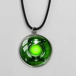 Wholesale Wholesale Fire Lanterns - Hot sale necklace Of Ice And Fire &Green Lantern Superman movie Game Of Thrones Stark glass pendant necklace wolf crew neck men jewelry