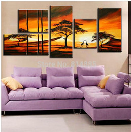 Wholesale Oil Abstact - Special Design 5PCS SET Picture ! 100% Handmade Modern Abstact Oil Painting On Canvas Wall Art ,Top Home Decoration