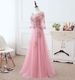 Medias mangas de vestidos formales de diseño online-Alta calidad rosado precioso largos vestidos de noche baratos 2018 nuevo diseño una línea primicia cuello media manga de los vestidos de noche formal para las mujeres