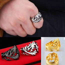 Wholesale Wholesale Fashion Jewelry Usa - 2017 Fashion Jewelry Stainless Steel Solid Inside Dragon Rings Men High Quality USA UK Russian Brazil