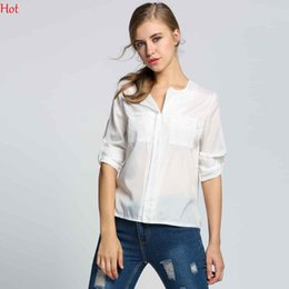 Wholesale ladies blouses sale - Perspective Summer Ladies Blouses Popular Chiffon Casual Womens Blouses with Pockets Long Sleeve Lapel Neckline Sale SV002219