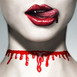 Wholesale Halloween Plastic Skeleton - Halloween Horror Blood Drip Necklace Fake Blood Vampire Fancy Joker Choker Costume Red Necklaces Party Accessories Novelty