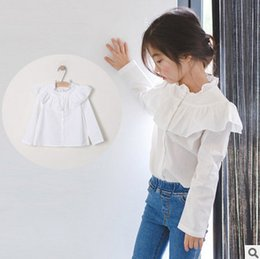 Wholesale Lace Collar Shirts For Girls - Girls shirt falbala cotton princess tops for big kids ruffle lace collar long sleeve single breasted blouses child autumn clothes T0200