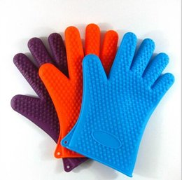 Wholesale Silicone Heat Mitt Holders - Silicone BBQ Gloves Insulated Kitchen Tool Heat Resistant Glove Oven Pot Holder BBQ Baking Cooking Mitts Five Fingers Anti Slip