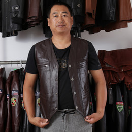 Wholesale Motorcycle Tank Leather - Fall-2016 Casual Men's Cow Genuine Leather Vest Reporter Vest Waistcoat Tank Top Outdoor Jacket Motorcycle Vest