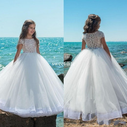 Wholesale Tulle Flower Girl Empire - Sweety 2017 Ball Gown Flower Girls Dresses Scoop Illusion Lace Appliques Short sleeve Covered Button Empire Tulle Tiered Skirts Pageant Gown