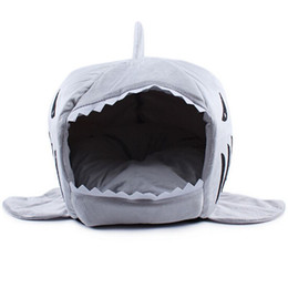 Wholesale Dog Houses For Kennels - 2016 2 Size Pet Products Warm Soft Dog House Pet Sleeping Bag Shark Dog Kennel Cat Bed Cat House cama perro for Christmas