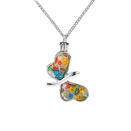 Wholesale flower memorial - Cremation Jewelry Glass Rainbow Flower Butterfly Urn Pendan Memorial Keepsake Ashes Necklace Stainless Steel With Gift Bag and Funnel