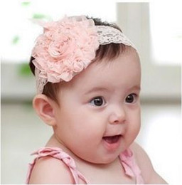 Wholesale Korean Large Hair Bands - Korean children hair accessories baby hair band lace large rose flower hair powder with the whole network lowest