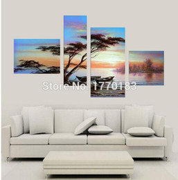 Wholesale Hand Made Decoration Pieces - hand made water tree landscape oil painting on canvas peace quiet lake 4 pieces modern group wall pictures home decoration art