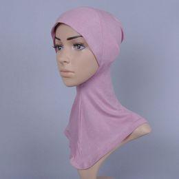 2019 mütze für muslimische frauen Frauen printe reine Farbe muslimischen inneren Hüte / caps Baumwolle Hijab modale Render Cap günstig mütze für muslimische frauen