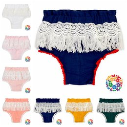 Wholesale Baby Pants Toddler Underwear - Baby Lace Tassel Briefs Cute Kids Baby Girls Summer Cotton Shorts Fringe Bubble Shorts Briefs Underwear Toddler Pants 11 Colors OOA2786