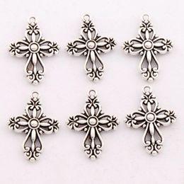 Wholesale Cross Pendants Beads - 100pcs lot Antique Silver Filigree Heart Cross Religious Spacer Charm Beads Pendants Alloy Handmade Jewelry DIY L425 20.5x27.9mm