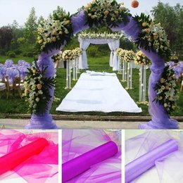 Wholesale Light Blue Flower Bouquets - Wholesale Wedding Supplies Decoration 1.5m Width 18 Colours Sheer Mirror organza Fabric For Wedding Drape Decoration