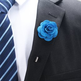 Wholesale Wholesale Men Suit Fabrics - New fashion men cc brooch flower lapel pin suit boutonniere fabric yarn pin 22 colors button Stick flower brooches for wedding party