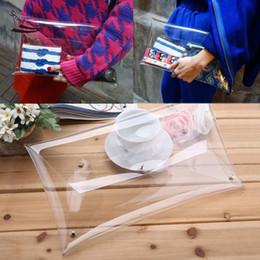 Wholesale Ipad Mini Envelopes - New Fashion Designer Unisex PVC Transparent Envelope Clutch For Ipad Clear Color Bag Handbag For Women