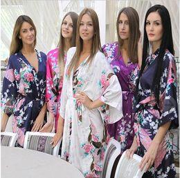 Wholesale Pjs Women - 13 colors Ladies womens Solid plain rayon silk short Robe Pajama Lingerie Nightdress Kimono Gown pjs Women Dress elegant