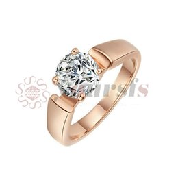 Wholesale korean crystal jewelry zircon - Yoursfs Gold Plating 18 K four claw square shape Cubic Zircon ring female wedding rings for women simple jewelry korean version