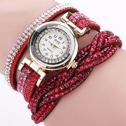 Wholesale Hot Wrap Dress - Hot selling Luxury Rhinestone Women Wrap Bracelet Watches Gold Case Fashion Dress Wrist watch relojes Relogio feminino new arrival yoyowatch