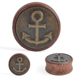 "Wholesale Plug Anchor - 2pcs of ""Anchor"" Saddle Ear Plugs Tunnels (Wood   Copper) 12mm-30mm"