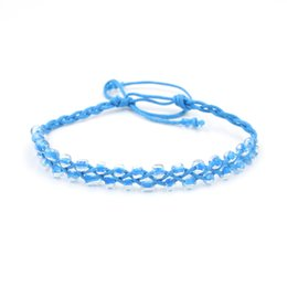 Wholesale Braided Bead Cord Bracelet - 10 Colors Cords Strands Handmade Rope Braid Hemp Women Acrylic Beads Friendship Bracelet Sister Wholesale