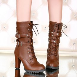 Wholesale High Heels Boots Size 43 - Fashion High Heel Martin Boots Short Plush Zipper Chunky Heel Mid Calf Half Boots with Buckle Warm Western Women Shoes Size 34-43