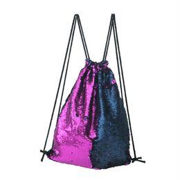 Wholesale bag articles - Both Shoulders Travel Bag Blingbling Mermaid Sequins Portable Shopping Drawstring Package Personality Storage Bag Outdoor Articles 24lj C R
